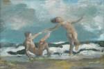 Harald Metzkes: Paar in den Wellen, Öl/Lw, 2001, Lot Nr. 335