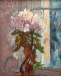 Chrysanthemen, Öl/Holz, WV  3112