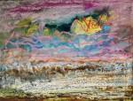 Edmund Kesting: Gelbe Sonne über der Buhne, Mischtechnik auf Papier, 1960er Jahre