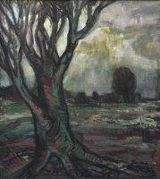 Landschaft mit Baum, Öl/LW, 2003