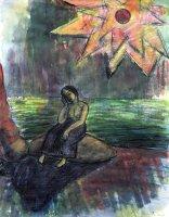 Sitzende in der Bucht, Feder/Tusche, Aquarell, 2007