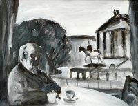 Selbstbildnis vor der Alten Nationalgalerie, Acryl/Leinwand, 1999