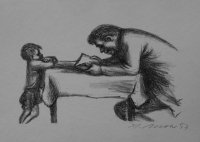 Vater und Sohn, Lithographie