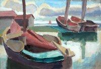 Boote in Hafen, Ölfarben auf Malkarton, 1928