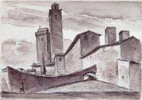 San Gimignano, Durchdrückzeichnung und Aquarell