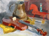Stilleben mit Violine, Ölfarben auf Malkarton