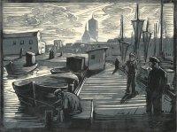 Am Hafen von Stralsund, Holzschnitt, Handdruck von zwei Platten, 1935