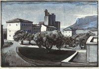 Terracina, Holzschnitt, Handdruck von drei Platten, 1949