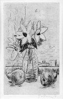 Blumen und Birnen, Radierung, Kaltnadel, 1964, WV G. Schmidt 82