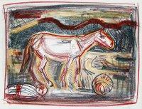 Das Pferd in den Bergen, Farblithographie, mit Kreiden übermalt, 1983, WV Scharnhorst 470
