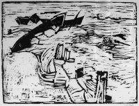 Otto Niemeyer-Holstein: Boote im Eis, Holzschnitt, 1957, WV 21