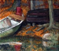 Irene Sohler: Boote am Waldsee, Öl/LW/HFP, 2005