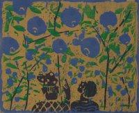 Metzkes: Bäume mit Blaubeeren, Farbholzschnitt