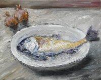 Volker Scharnefsky: Fisch mit 2 Zwiebeln, Öl/Lw, 2009