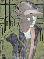 Christiane Stohmann: Unterwegs, Farbholzschnitt, 2007