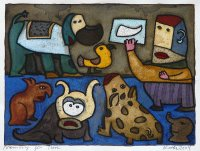 Memory für Tiere, Aquarell über Monotypie, 2004