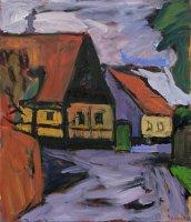 Klaus Roenspieß: Häuser auf Bornholm, Öl/Lw, 2009