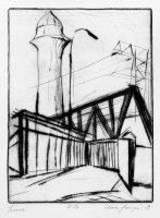 Turm, Radierung, Kaltnadel, 1989