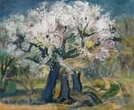 Kurt Bunge: Blühende Kirschbäume, Öl/Hartfaserplatte