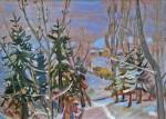 Kurt Bunge: Schneelandschaft, Öl/Hartfaserplatte, 1959