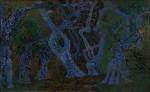 Curt Lahs: Nachtwald, Öl/Papier/aufgezogen auf Hartfaserplatte, 30er Jahre