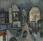 Otto Möhwald: Stadt am Abend, Öl/Leinwand, 1957