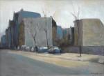 Otto Möhwald: Straße mit Autos, Öl/Leinwand, 2014