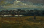 Karl Rödel: Landschaft in Wörmlitz, Öl/Karton, 1937