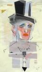 Schauspieler (B.G.), Collage, Bleistift, Tempera, 2014