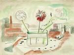 Glas mit Blumen, Feder/Tusche, Aquarell, 1981