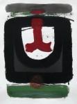 Schwarz vom Bernd II, Acryl, Aquarell, Farbstift über Druckfragment, 2013