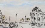 Am Bodemuseum, Zeichnung, Kohle, Pastell auf grundiertem Papier, 1989