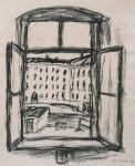Fenster zum Hof, Zeichnung, Kohle, 1994