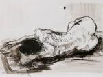 Motomo, liegend, Feder/Tusche, laviert, 2011