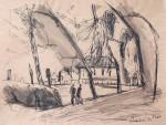 Park in Spandau, Zeichnung, Pinsel, Feder/Tusche, 1992