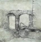 Brunnentrog und Tor, Feder/Tusche, laviert, 2015