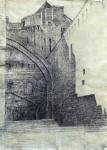 Festung in St. Malo, Feder/Tusche, laviert