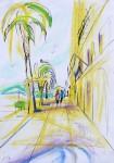 Promenade in Split, Tusche/Pastell, 2016