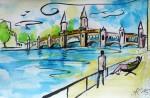 Sonntags an der Oberbaumbrücke, Tusche/Aquarell, 2015