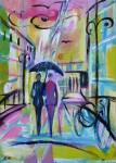 Spaziergänger im Regen, Acryl/Leinwand, 2016